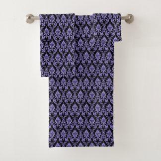 Purple and Black Damask Towel Set バスタオルセット