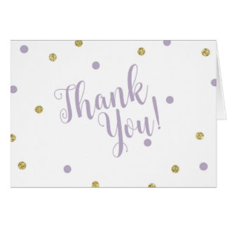 Purple and Gold Glitter Thank You Cards カード