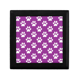 Purple and white paw prints pattern ギフトボックス