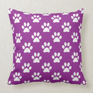Purple and white paw prints pattern クッション