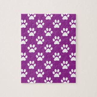 Purple and white paw prints pattern ジグソーパズル
