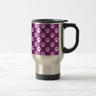 Purple and white paw prints pattern トラベルマグ