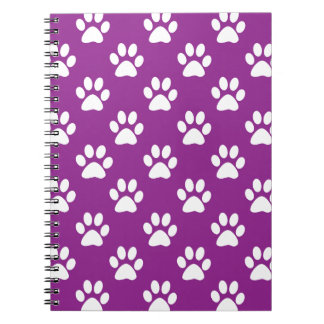 Purple and white paw prints pattern ノートブック