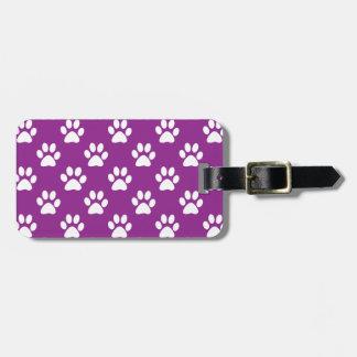 Purple and white paw prints pattern ラゲッジタグ