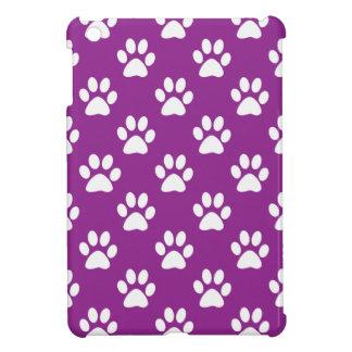 Purple and white paw prints pattern iPad miniカバー