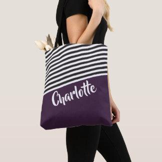 Purple Black White Striped Pattern Personalized トートバッグ