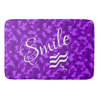 Purple  Camouflage with Smile Text バスマット