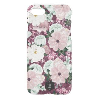 Purple Floral Pattern Custom Initials iPhone 8/7 ケース