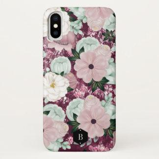 Purple Floral Pattern Custom Initials iPhone X ケース