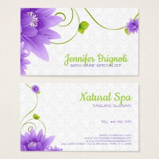 Purple Flower White Damask 名刺