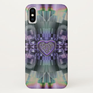 Purple Fractal Celtic Heart Knot iPhone X Case iPhone X ケース