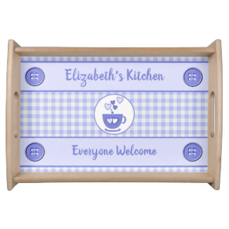 Purple gingham name kitchen トレー
