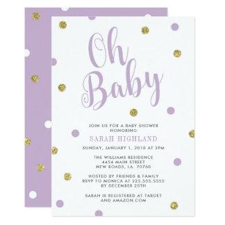Purple & Gold Glitter Oh Baby Shower カード