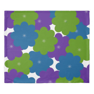 Purple, Green & Blue Floral Patterned Duvet Cover 掛け布団カバー