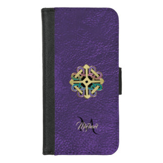 Purple Leather Celtic Shield Knot Monogram iPhone 8/7 ウォレットケース