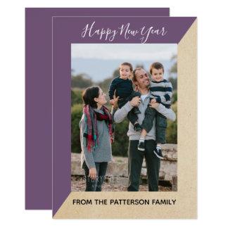 Purple Modern Slant New Year's Photo Flat Card カード
