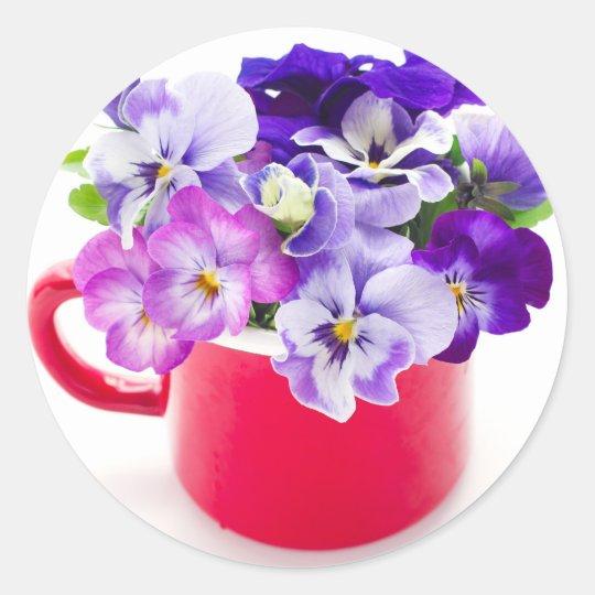 purple pansy ラウンドシール