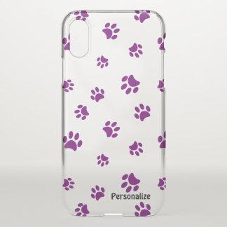 Purple Paw Prints Pattern iPhone X ケース
