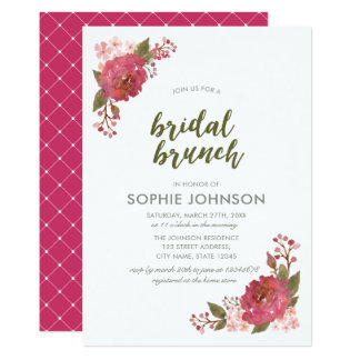 Purple Watercolor Floral Bridal Brunch Invitation カード