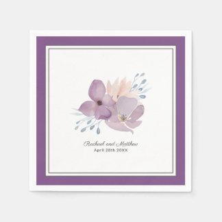 Purple Watercolor Floral Wedding スタンダードカクテルナプキン