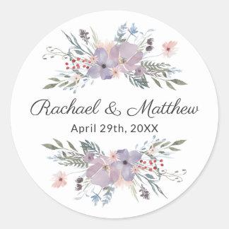 Purple Watercolor Floral Wedding Favor ラウンドシール