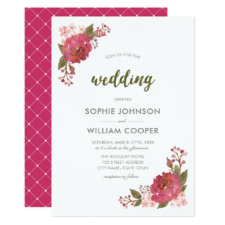Purple Watercolor Floral Wedding Invitation カード
