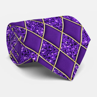 PurpleDiamondの紫色のスパンコールパターン謝肉祭のタイ オリジナルネクタイ
