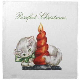 Purrfectのクリスマスの子ネコおよび蝋燭の布のナプキン プリントナプキン