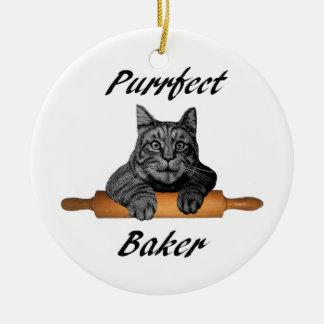 Purrfectのパン屋猫のギフト熱狂するな猫の女性 セラミックオーナメント