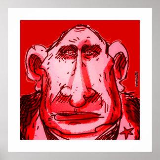 putinの風刺漫画の赤の色合い ポスター