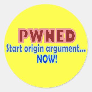 PwnedのPwnによって所有されるゲーマーの起源のデザイン ラウンドシール