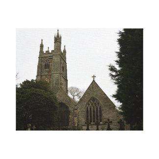 PydarコーンウォールイギリスのSt Mawganの教会 キャンバスプリント