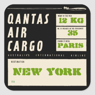 QANTAS AIR CARGO (Black) スクエアシール