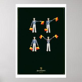 QE2 (色のlitho)のからのメニューカバー ポスター