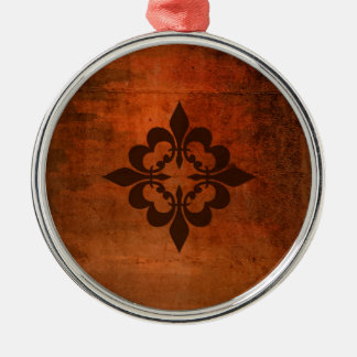 Quatreの(紋章の)フラ・ダ・リ シルバーカラー丸型オーナメント