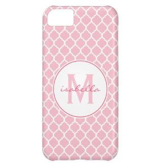 Quatrefoilのピンクのモノグラム iPhone5Cケース