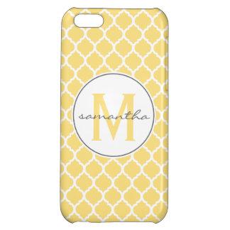 Quatrefoilの黄色いモノグラム iPhone5Cケース