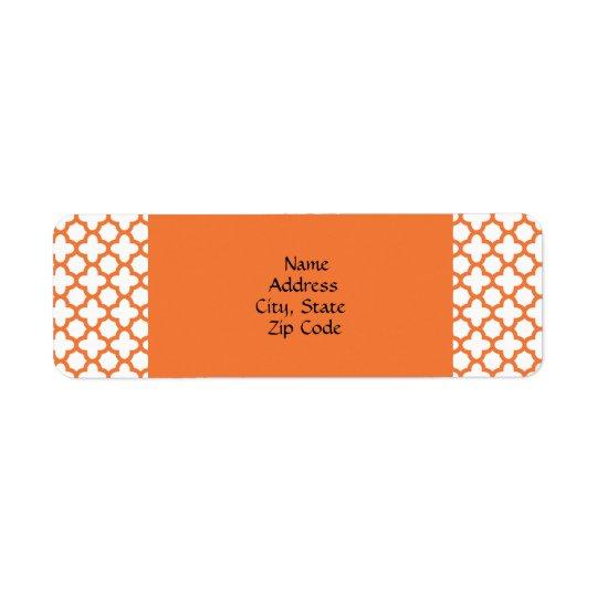 Quatrefoilオレンジパターン ラベル