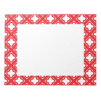 Quatrefoil赤いパターン ノートパッド