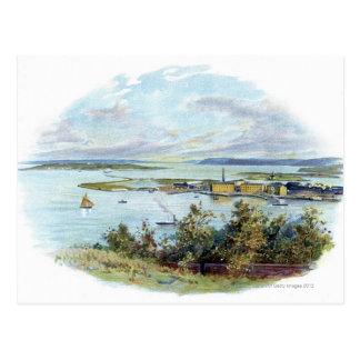 QueenstownおよびCobh、アイルランドの景色のヴィグネット ポストカード
