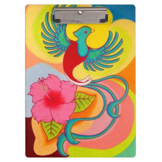 Quetzalの鳥およびハイビスカス クリップボード