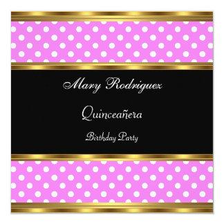 Quinceañeraのパーティーのピンクの水玉模様 13.3 スクエアインビテーションカード