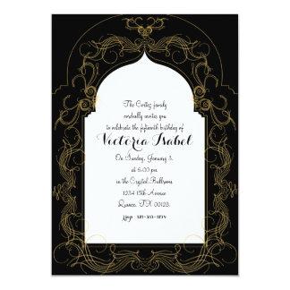 quinceañeraのモロッコのマルメロの招待の金ゴールド カード