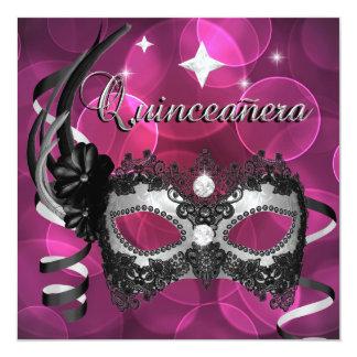 Quinceañeraの第15誕生日のピンクのダイヤモンドのマスクの銀 カード