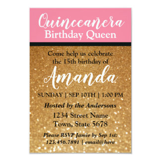 Quinceañeraの誕生日の招待状のピンクの金ゴールドのグリッター カード