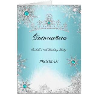 Quinceanera Program Teal Aqua Cobalt Blue カード