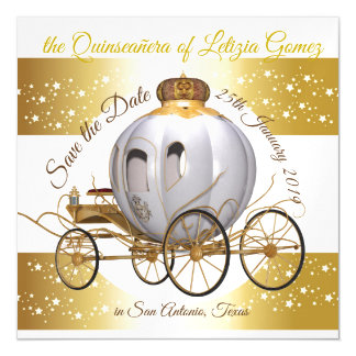 Quinceanera Save the Date Gold Princess Carriage マグネットカード