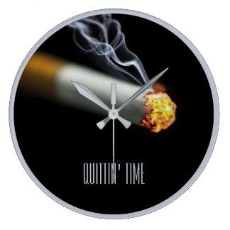 QUITTINの時間:  停止喫煙のメモ ラージ壁時計