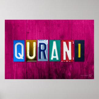 QURANI License Plate Letter Art Name Sign ポスター