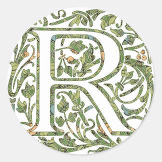 Rの花柄のモノグラム ラウンドシール